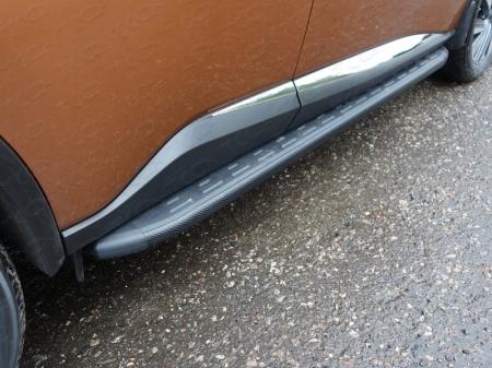 Nissan Murano 2016-Пороги алюминиевые с пластиковой накладкой (карбон черные) 1820 мм